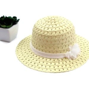 Natural Ribbon and Flower Fashion Straw Sun Hat